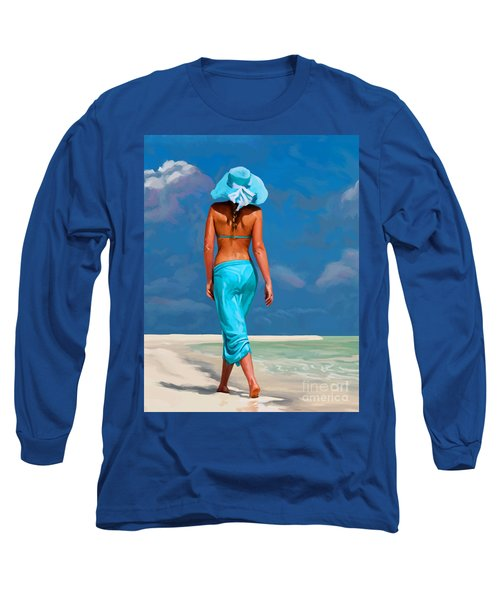 walking on the beach V Long Sleeve T-Shirt by Tim Gilliland