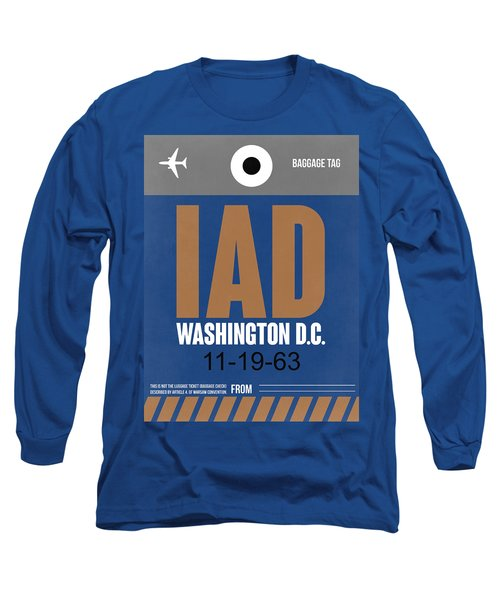 Washington D.c. Airport Poster 4 Long Sleeve T-Shirt by Naxart Studio