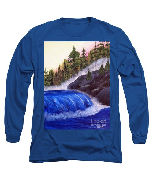Long Sleeve T-Shirt featuring the painting Water Fall By Rocks by Brenda Brown