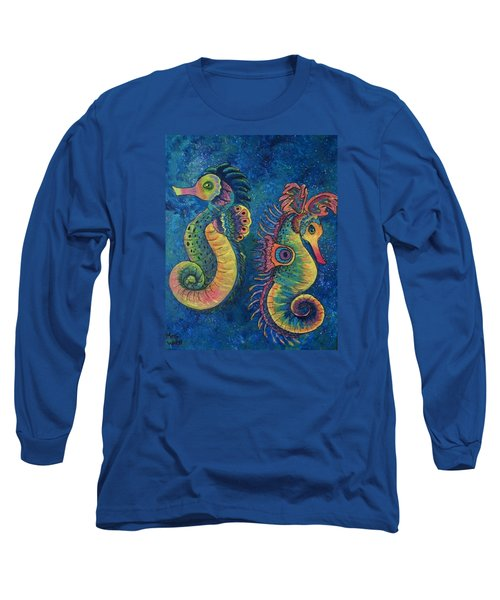 Long Sleeve T-Shirt featuring the painting Water Horses by Megan Walsh