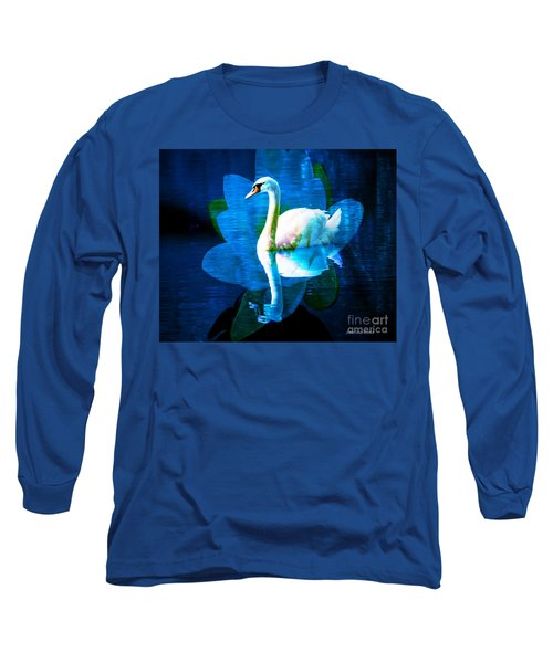 Long Sleeve T-Shirt featuring the photograph Water Lily And Swan by Annie Zeno