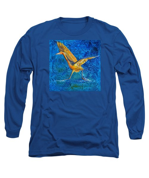 Long Sleeve T-Shirt featuring the painting Water Run by AnnaJo Vahle