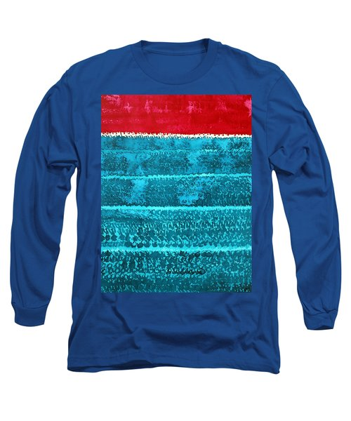 Waves Original Painting Long Sleeve T-Shirt by Sol Luckman