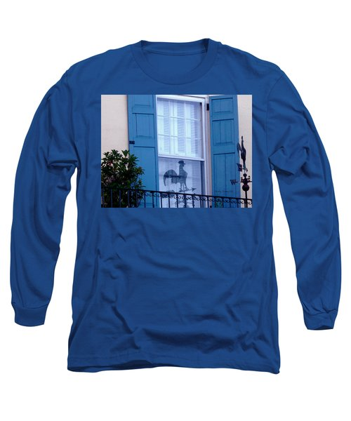 Long Sleeve T-Shirt featuring the photograph Charleston Weathervane Reflection by Kathy Barney