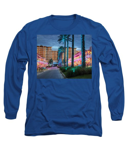 Long Sleeve T-Shirt featuring the photograph Wharf Blue Lighted Trees by Michael Thomas
