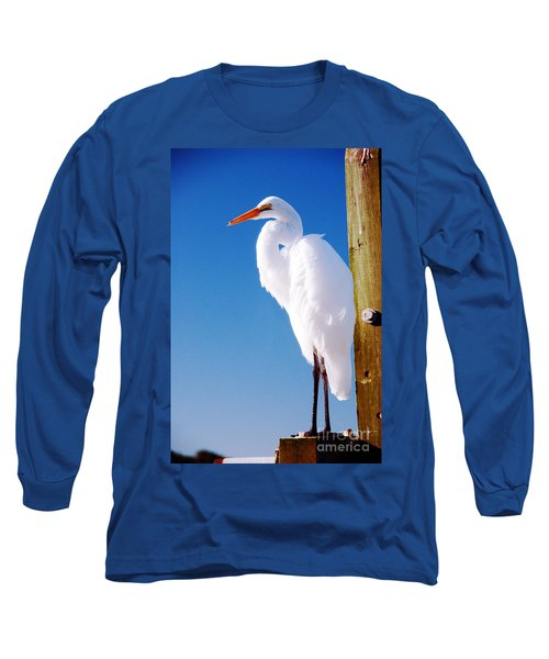 Great White Heron Long Sleeve T-Shirt by Vizual Studio