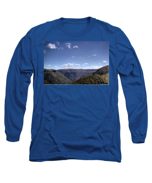 Long Sleeve T-Shirt featuring the photograph Wide Shot Of Tree Covered Hills by Jonny D