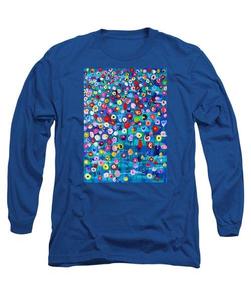 Long Sleeve T-Shirt featuring the painting Wildflower Fiesta by Brenda Pressnall