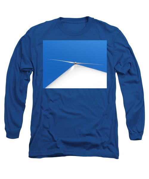 Wind Turbine Blue Sky Long Sleeve T-Shirt