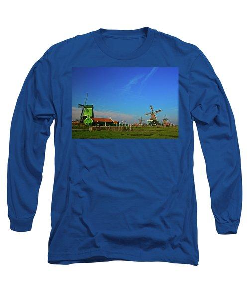Long Sleeve T-Shirt featuring the photograph Windmills At Zaanse Schans by Jonah  Anderson