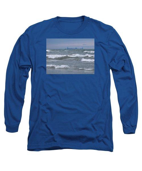 Windy City Skyline Long Sleeve T-Shirt by Ann Horn