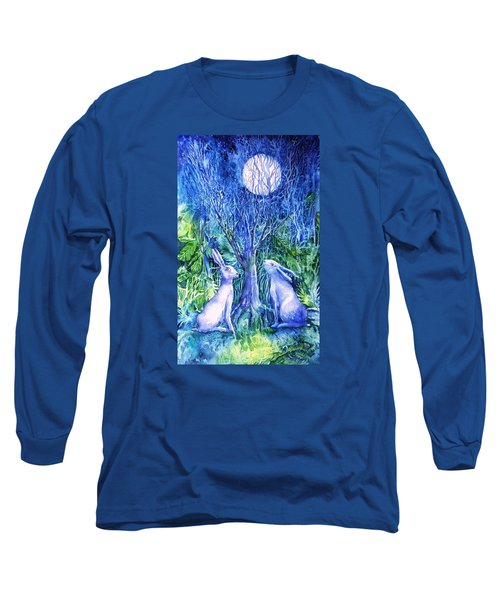 Winter Descends As Two Hares Contemplate An Owl By Moonlight Long Sleeve T-Shirt by Trudi Doyle