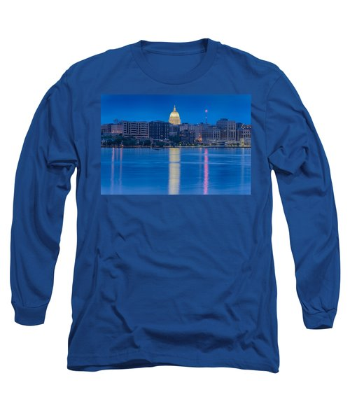 Long Sleeve T-Shirt featuring the photograph Wisconsin Capitol Reflection by Sebastian Musial