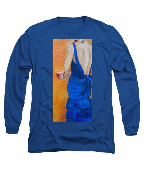 Woman In Blue Long Sleeve T-Shirt