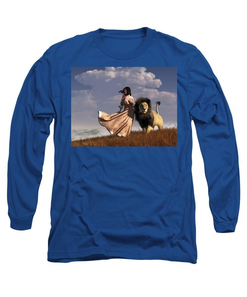 Woman With African Lion Long Sleeve T-Shirt