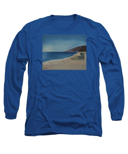 Long Sleeve T-Shirt featuring the painting Zuma Lifeguard Tower by Ian Donley
