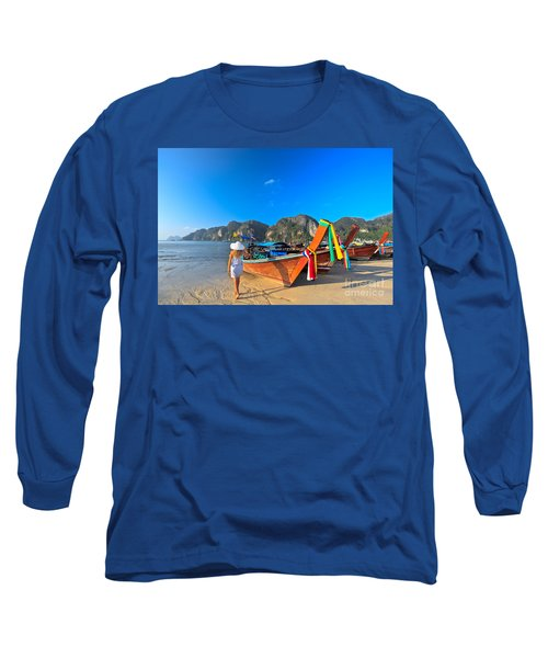 Boats At Phi Phi Island Long Sleeve T-Shirt