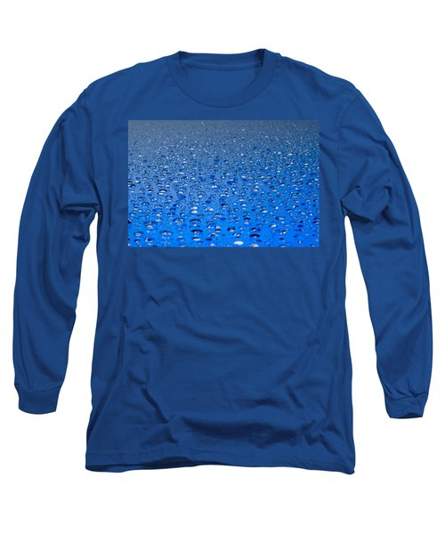 Water Drops On A Shiny Surface Long Sleeve T-Shirt by Ulrich Schade