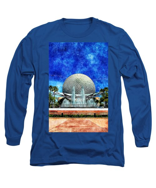 Long Sleeve T-Shirt featuring the digital art Spaceship Earth And Fountain Of Nations by Sandy MacGowan
