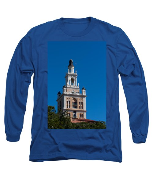 Long Sleeve T-Shirt featuring the photograph Biltmore Hotel Tower And Moon by Ed Gleichman