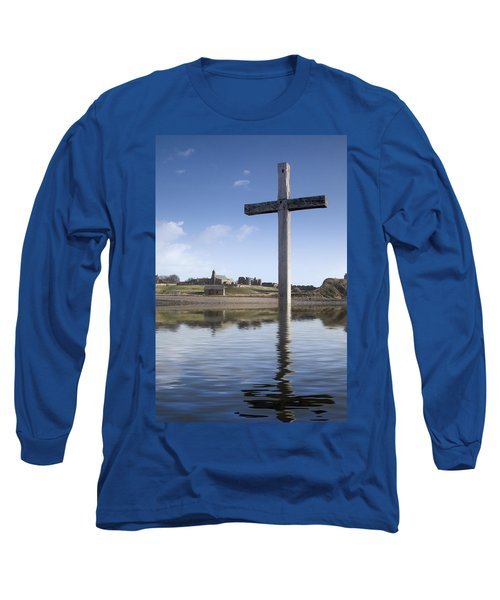 Long Sleeve T-Shirt featuring the photograph Cross In Water, Bewick, England by John Short