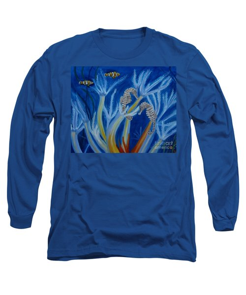 Long Sleeve T-Shirt featuring the painting Date Night On The Reef by Julie Brugh Riffey