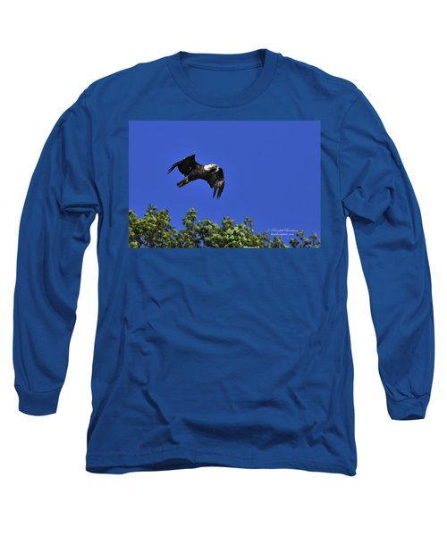 Long Sleeve T-Shirt featuring the photograph Eagle Over The Tree Top by Randall Branham