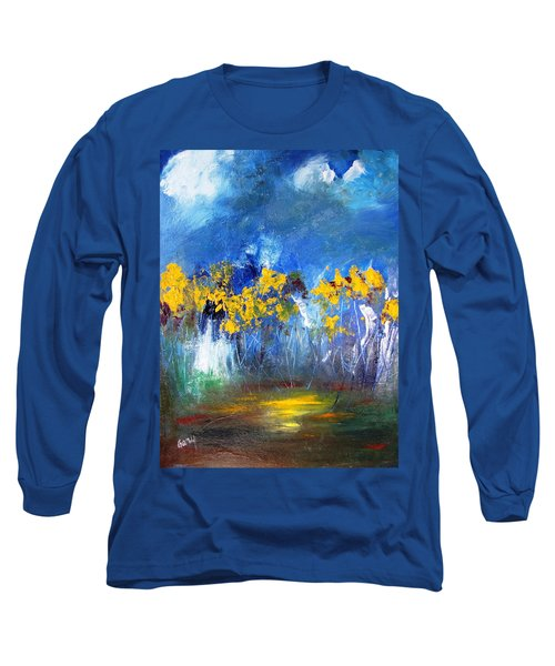 Flowers Of Maze In Blue Long Sleeve T-Shirt by Gary Smith