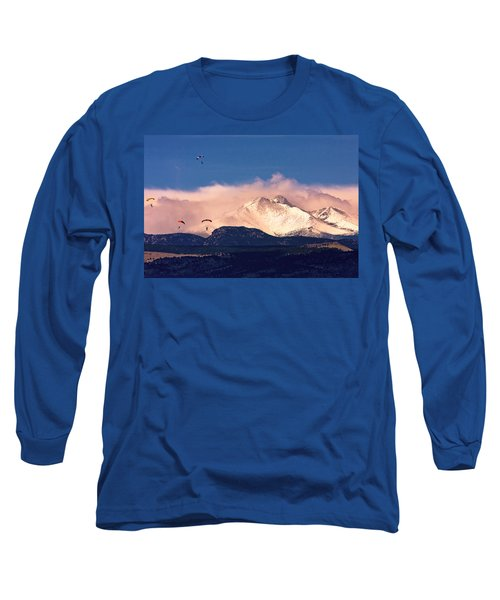 Four Skydivers With Longs Peak And Mount Meeker Rocky Mountain H Long Sleeve T-Shirt