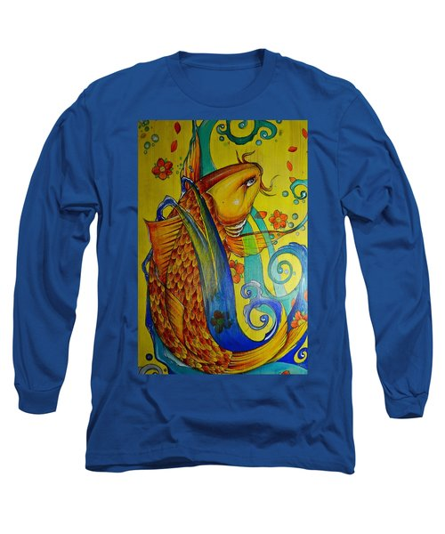 Golden Koi Long Sleeve T-Shirt by Sandro Ramani