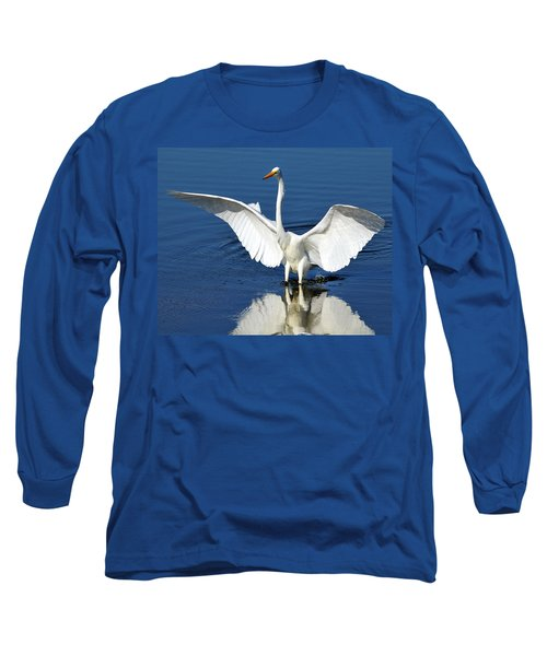Great White Egret Spreading Its Wings Long Sleeve T-Shirt