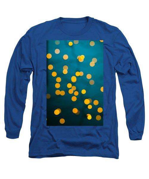 Green Background With Gold Dots  Long Sleeve T-Shirt by Ulrich Schade