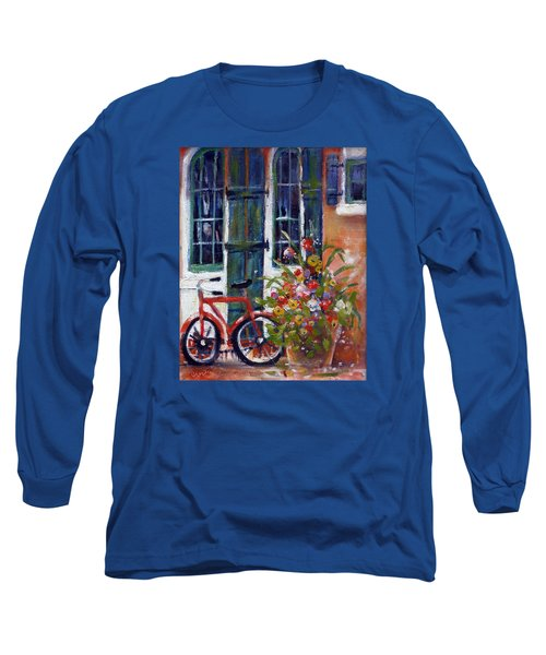 Long Sleeve T-Shirt featuring the painting Habersham Bike Shop by Gertrude Palmer