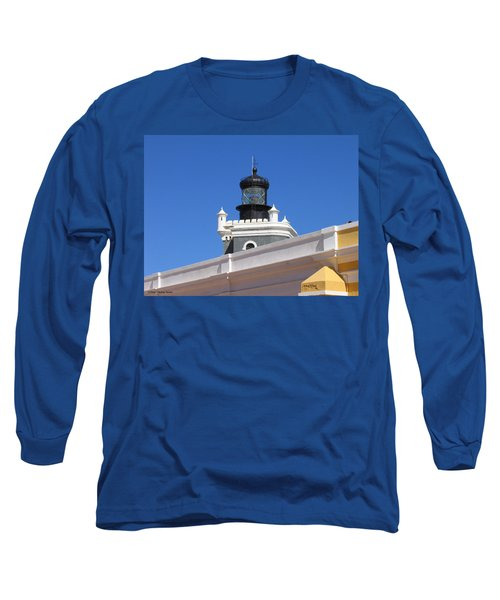 Long Sleeve T-Shirt featuring the photograph Lighthouse At Puerto Rico Castle by Suhas Tavkar