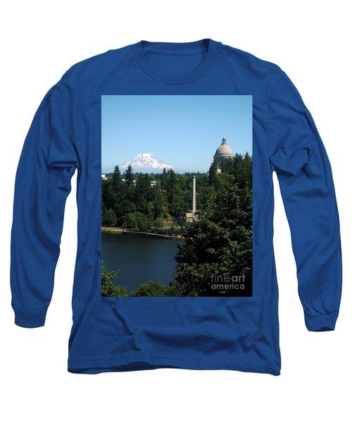 Olympia Wa Capitol And Mt Rainier Long Sleeve T-Shirt