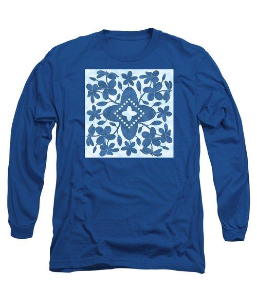 Plumeria Hawaiian Quilt Block Long Sleeve T-Shirt