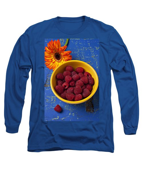 Raspberries In Yellow Bowl Long Sleeve T-Shirt