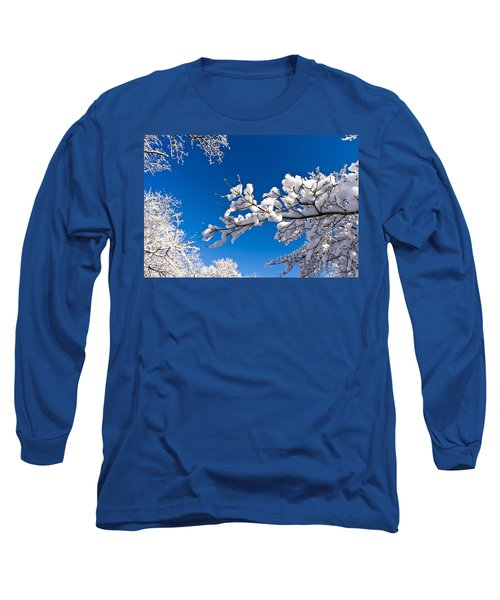 Snowy Trees And Blue Sky Long Sleeve T-Shirt