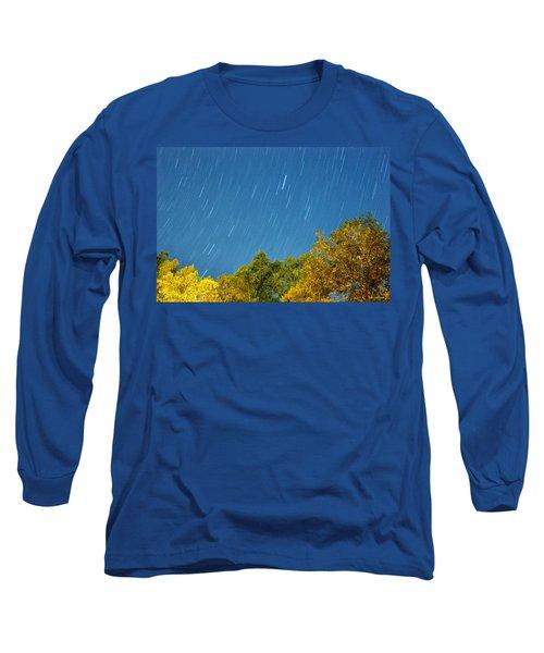 Star Trails On A Blue Sky Long Sleeve T-Shirt by Kay Lovingood