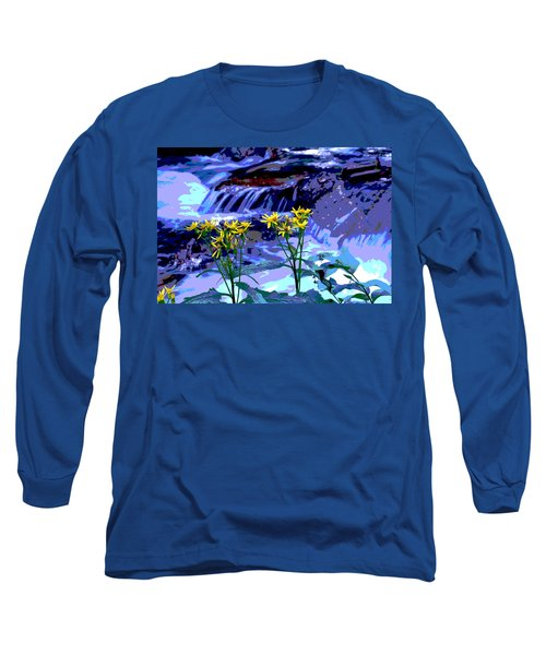 Stream And Flowers Long Sleeve T-Shirt by Zawhaus Photography