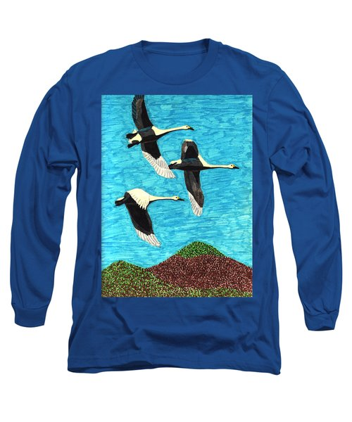 Swans In Flight Long Sleeve T-Shirt by Wendy McKennon