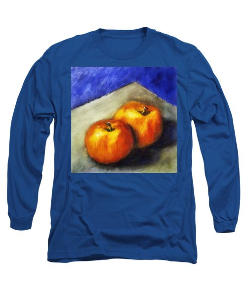 Two Apples With Blue Long Sleeve T-Shirt
