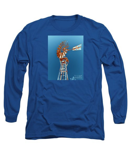 Windmill Rust Orange With Blue Sky Long Sleeve T-Shirt by Rebecca Margraf