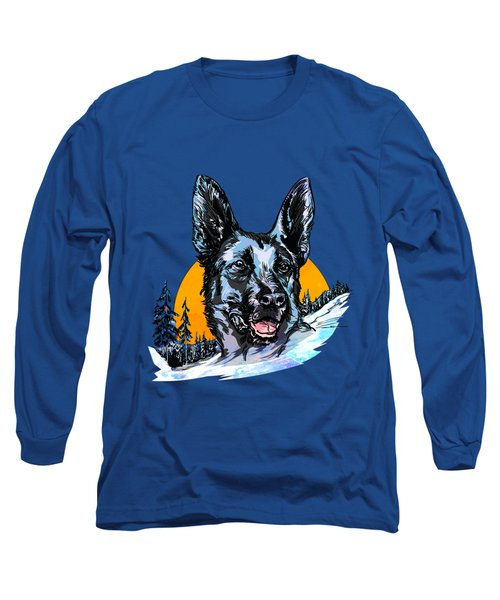 Long Sleeve T-Shirt featuring the drawing  Alsatian by Andrzej Szczerski
