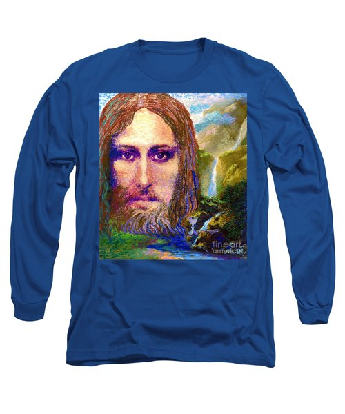 Long Sleeve T-Shirt featuring the painting  Contemporary Jesus Painting, Chalice Of Life by Jane Small