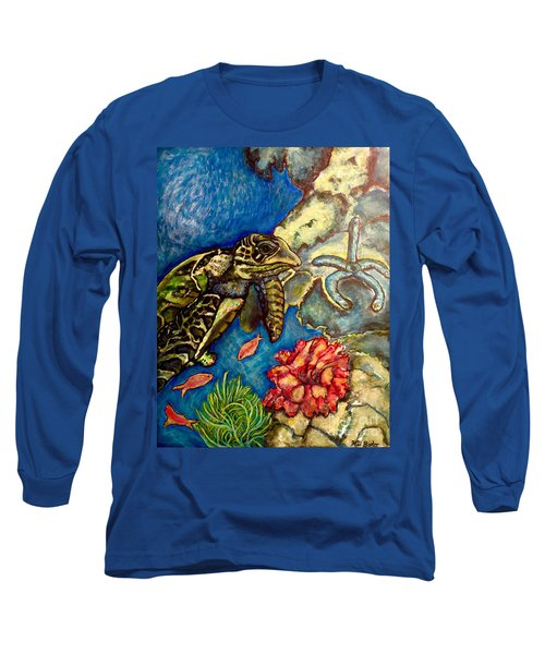 Sweet Mystery Of The Sea A Hawksbill Sea Turtle Coasting In The Coral Reefs Original Long Sleeve T-Shirt by Kimberlee Baxter