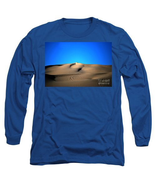 Yuma Dunes Number One Bright Blue And Tan Long Sleeve T-Shirt