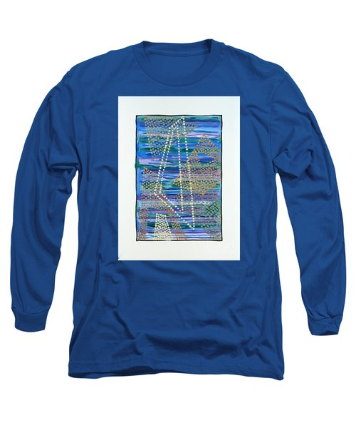 Long Sleeve T-Shirt featuring the painting 01330 Lean by AnneKarin Glass