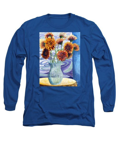 Long Sleeve T-Shirt featuring the painting 01305 Orange African Daisies by AnneKarin Glass