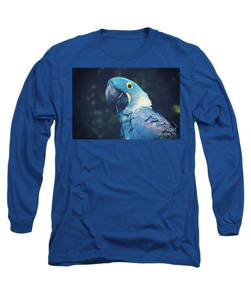 Blue Hyacinth Macaw Long Sleeve T-Shirt by Sharon Mau